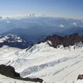 Mount Rainier via Disappointment Cleaver: Ingraham Glacier with Little Tahoma Peak (11,138') on the left.- 35 Summit Views Worth Hiking For