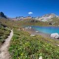 Wildflowers around Ice Lake with mountains in the background, including Golden Horn and Pilot Knob.- 5 Incredible Hikes in Colorado's San Juan Mountains