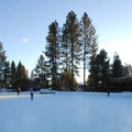 View of Seventh Mountain Resort's ice skating rink.- 15 Reasons to Visit Bend, Oregon, this Winter