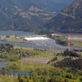 View of Bonneville Lock and Bonneville Dam from Aldrich Butte's summit.- Hiking in the Columbia River Gorge