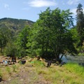 Campsite along the Klickitat River.- Columbia River Gorge National Scenic Area