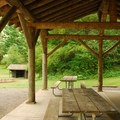 Beach Rock State Park Group Campground picnic shelter.- Columbia River Gorge National Scenic Area