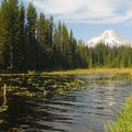 Trillium Lake and Mount Hood from Trillium Lake Campground's amphitheater.- A Guide to Camping in Oregon