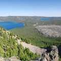 View of Newberry Volcano's caldera, including Paulina Lake, the Big Obsidian Flow, and East Lake from the summit of Paulina Peak.- 30 Best Hikes Near Bend, Oregon