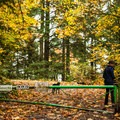 The trail begins with a walk up Saltzman Road, Maple Trail.- Incredible Family Adventures for Fall Color