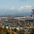 St. Johns Bridge from a viewpoint at the junction of Saltzman Road and Leif Erikson Drive.- Best Fall Hikes Near Portland