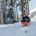 Sledding a constructed jump at Trillium Lake.- 12 Reasons to Visit Mount Hood in the Winter