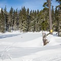 A happy skier at Teacup Lake.- Great Cross-Country Ski Trails on Mount Hood