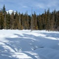 Mount Hood over the Enid Lake ski and snowshoe loop trail.- Snowshoeing on Mount Hood