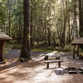 Shelters at Hiker's Camp along the Tillamook Head Trail in Ecoloa State Park.- The People's Coast