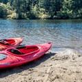 Coffenbury Lake put-in area.- Favorite Estuaries + Lakes to Paddle on the Oregon Coast
