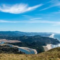 View of the Salmon River and Lincoln City.- Cascade Head
