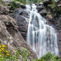 Still some wildflowers in early August at Upper Fish Creek Falls.- The West's 100 Best Waterfalls