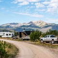 Prospector Campground: Park road in Loop E with the Gore Range towering above.- Dillon Reservoir's Best Hikes, Rides + Camping