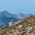 Hiker en route to Peak 12,150 with Mount Richthofen (12,940 ft) in the background. The alpine tundra is quite fragile and beautiful.- Rocky Mountain National Park