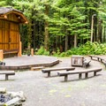 Campground amphitheater at Honeyman State Park Campground.- A Guide to Camping on the Central Oregon Coast