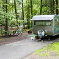 Typical RV/tent campsite at Honeyman State Park Campground.- A Guide to Camping on the Central Oregon Coast