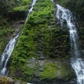 The twin streams of Feature Show Falls.- Mountain Loop Highway Itinerary