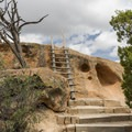 The first ladder encountered on the trail at Tsankawi Ruins in Bandelier National Monument.- Exploring the Puebloan Ruins and Rock Art of Northern New Mexico