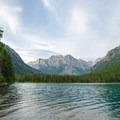 The view from Bowman Lake Campground.- Head of Bowman Lake Campground
