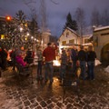 The back (east end) courtyard with large fire pits at Bend's McMenamin's Old St. Francis School Brew Pub and Hotel.- 12 North American Mountain Towns Perfect for Winter Adventure