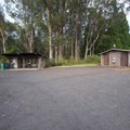 Picnic shelter and vault toilet facility at Hosmer Grove Campground.- Haleakalā National Park