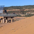 Viewing platform for easy access to the dunes.- Coral Pink Sand Dunes State Park