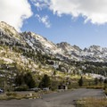 Looking back at the end-of-the-road parking lot.- Ruby Mountains Wilderness