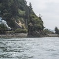 View of the Oregon Coast Scenic Railroad from the Tillamook Bay channel.- 5 Best Crabbing Locations on the Oregon Coast
