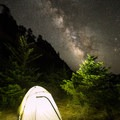 Milky Way rises over the backpacking site at Gold Bluffs Beach Campground.- Gold Bluffs Beach Campground