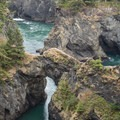 Slightly different angle of the taller bridge from the Natural Bridges Viewpoint.- Navigating the Oregon Coast Trail