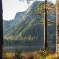 Mount Elsay and Elsay Lake from the cabin in the morning.- The West's Best Hikes for Fall Colors