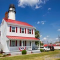 The original keepers quarters at the Fenwick Island Lighthouse, now a private residence.- Guide to East Coast Lighthouses
