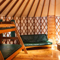 Inside a deluxe yurt at Umpqua Lighthouse State Park Campground.- A Guide to Camping on the Central Oregon Coast