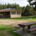 Bastendorff Beach day use area in Bastendorff Beach County Park Campground.- Camping on the Southern Oregon Coast