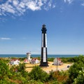 A view of the new lighthouse at Cape Henry.- Guide to East Coast Lighthouses