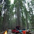 Car camping among the new-growth forest at Thielsen Forest Camp.- The Ultimate Car Camper's Gift Guide