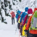 Group en route for a tour down Callaghan Country's North Shoulder.- Winter Backcountry Delights in British Columbia's Callaghan Country