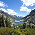 Canyon Creek valley and lakes seen from the scramble to Kalmia Lake.- Hiking in the Trinity Alps