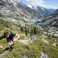 Scrambling above Canyon Creek Lakes.- Hiking in the Trinity Alps