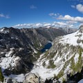 Complete view of Emerald and Sapphire Lakes from the ridge above Canyon Creek Lakes.- Hiking in the Trinity Alps