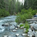Enjoying the peaceful sounds of Mill Creek at Hole in the Wall Campground.- Lassen Volcanic National Park