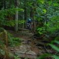 Droppping into Pangor.- Mountain Biking in British Columbia