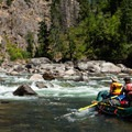 Selway River: A rapid that takes a few minutes at high water takes considerably longer at low flows.- 100 Unforgettable Adventures