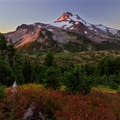 Morning light on Mount Jefferson from Park Ridge to the north.- Jefferson Park Hike via Jefferson Ridge