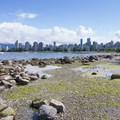 Tide pools and the view northeast toward Vancouver from Kitsilano Beach.- Vancouver B.C.'s Best Beaches + Swimming Holes