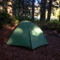 Primitive campsite along Tumble Lake.- Dome Rock + Tumble Lake Hike