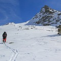 "The ""Matterhorn"" with Winter Alta's summit peeking above the ridgeline.- Backcountry Skiing in California"