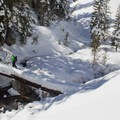 Crossing West Sulphur Creek on a winter outing.- Lassen Volcanic National Park