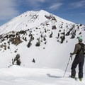 The view toward Pilot Pinnacle (8,886') with Lassen Peak (10,457') rising above.- Backcountry Skiing in California
